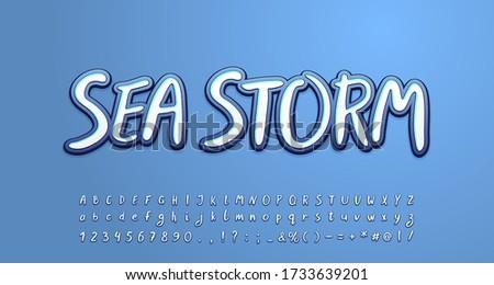 sea storm alphabet white and