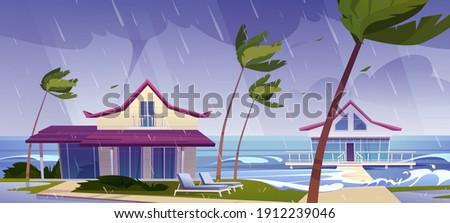 sea storm with rain and tornado