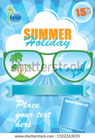 Sea Summer Holiday Template, vector blue background, vacation flyer
