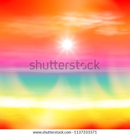 sea summer sunset with the sun
