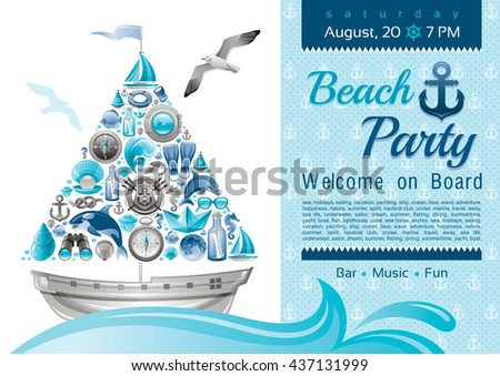 Sea summer travel banner invitation design for beach party with sail boat and icon set. Yachting coat of arms, compass rose, binoculars, killer whale, porthole, yacht, sailing ship, moon, lifebuoy