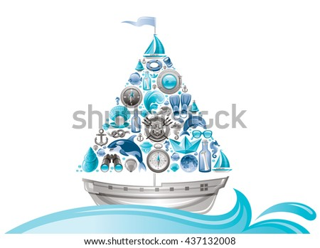 sea summer travel design with