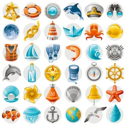 Sea summer travel icon set with shipping yacht and beach symbols. White background. Concept icons with octopus, vintage compass, helm, starfish, binoculars, lighthouse, sailor hat, boat, dolphin, moon