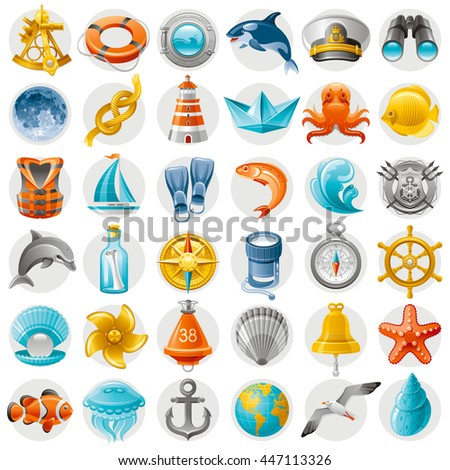 sea summer travel icon set with