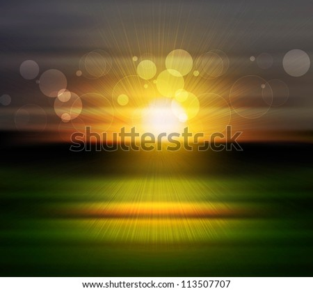 Sea Sunset bright vector with reflection rays  background