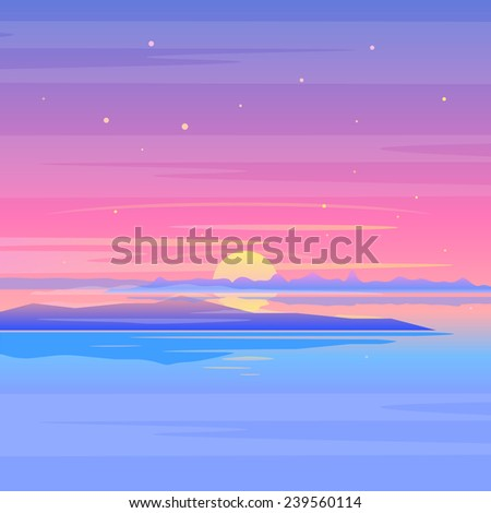 sea sunset landscape with