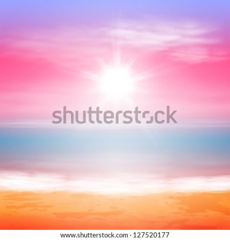 sea sunset with bright sun