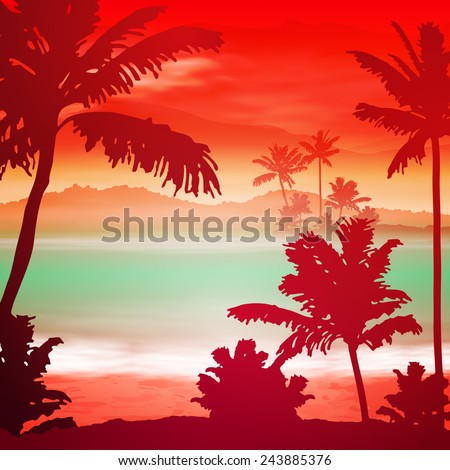sea sunset with island and palm
