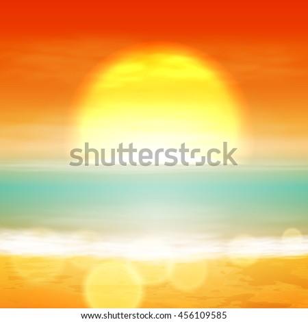 sea sunset with the sun  light