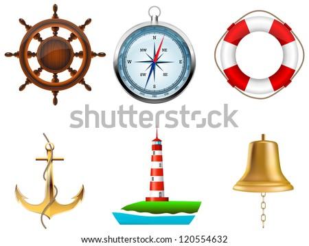 Sea symbols on a white