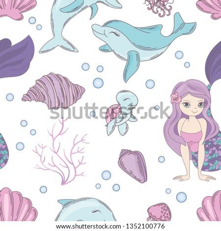 SEA TEXTILE mermaid princess and sea creatures swim under water