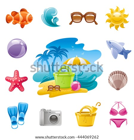 sea travel icon set in blue