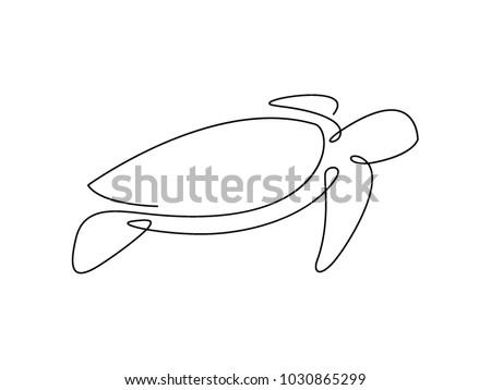 Sea turtle continuous line vector design. Eps10.