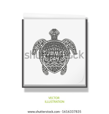 Sea turtle . Open notebook for drawing .Summer beach lettering .White sketchbook .Rest, vacation Vector illustration .