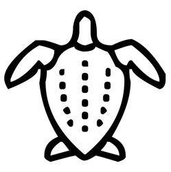 Sea turtle, tortoise with shell and fins, sea animal, vector, illustration in black and white color, isolated on white background