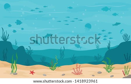 Sea underwater background. Marine sea bottom with underwater plants, corals and fishs. Panoramic seascape. Vector illustration.