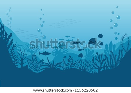 Sea underwater background. Ocean bottom with seaweeds. Vector marine scene. Ocean scene, sea underwater, undersea life on bottom illustration