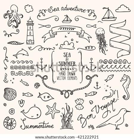 Sea vacation design elements.