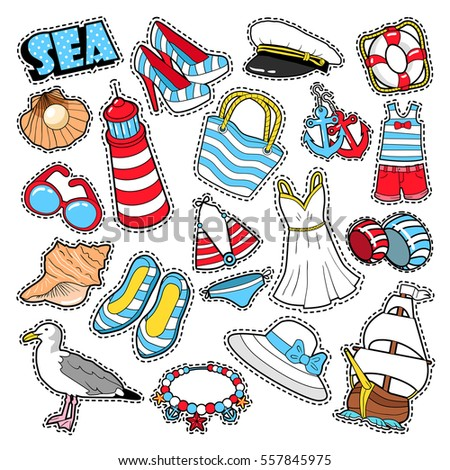 Sea Vacation Woman Fashion Elements and Clothes for Scrapbook, Stickers, Patches, Badges. Vector Doodle