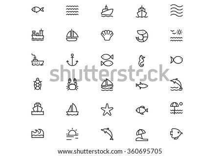 sea vector line icons 1