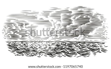 sea view engraving style