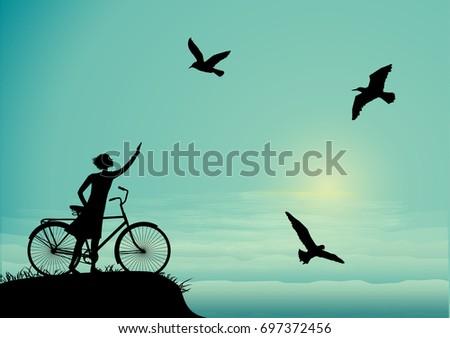 sea walk with bicykce  girl