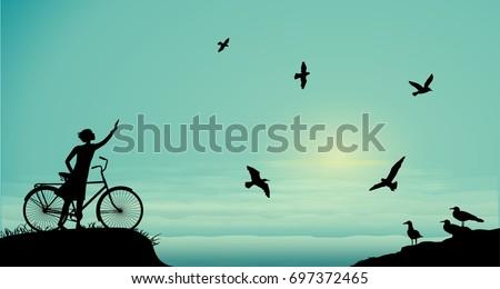 sea walk with bicykle  girl