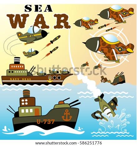 sea war  vector cartoon