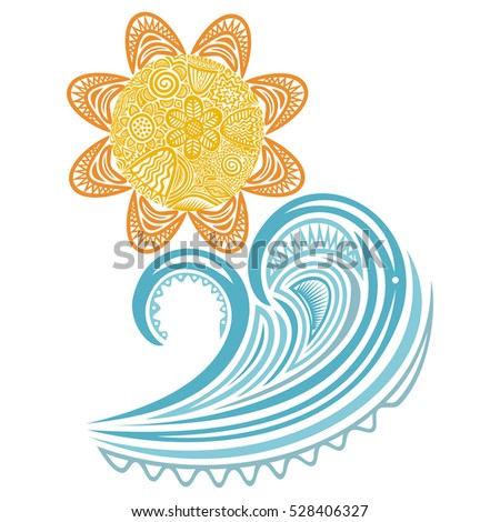 sea wave and sun vector