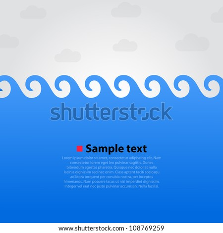 Sea wave background, Summer beach, Vector illustration
