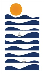 Sea Wave design with sail boat and sun. Ocean waves sunset. Vector Illustration.