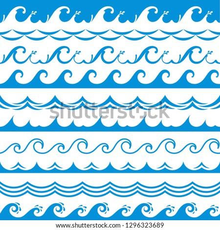 Sea wave frame. Seamless ocean storm tide waves wavy river blue water splash design elements horizontal borders vector isolated set