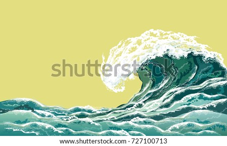 Sea wave. Hand drawn realistic vector illustration in oriental vintage ukiyo-e style