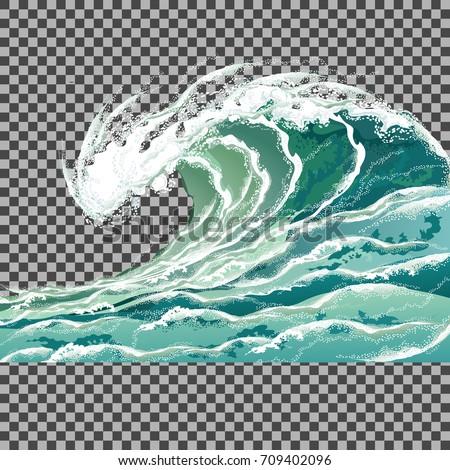 sea wave hand drawn vector