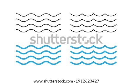 Sea wave icon set. Water logo, line ocean symbol in vector flat style.