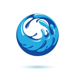 Sea wave splash vector logo. Pure water as the driving force for human activity theme.