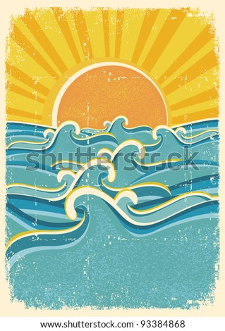 Sea waves and yellow sun on old paper texture.Vintage illustration
