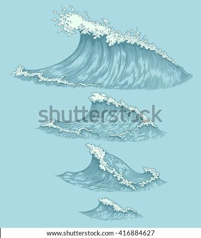 Sea waves. Design set. Hand drawn engraving. Vector vintage illustration. Isolated on color background. 8 EPS