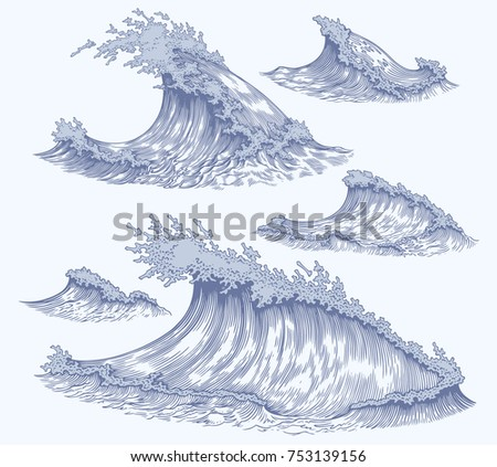 sea waves. design set. hand...