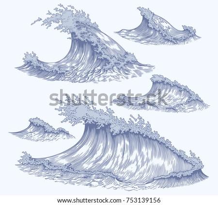 sea waves. design set. hand...