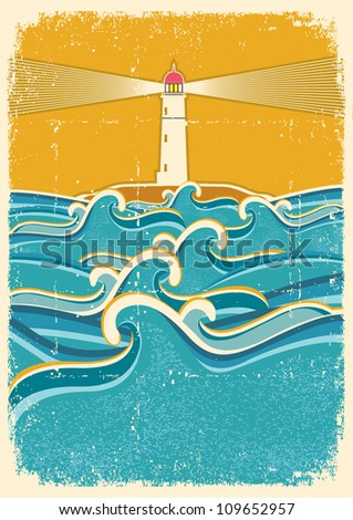 Sea waves horizon on old paper texture.Vector illustration with lighthouse