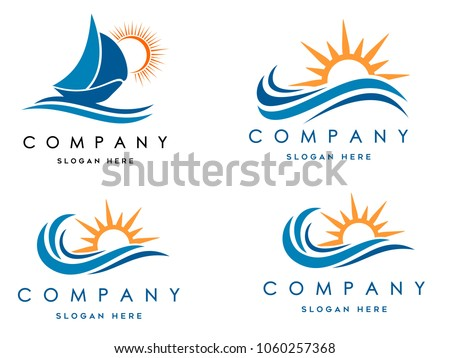 sea waves logo set, sun waves logo set, whale waves logo vector