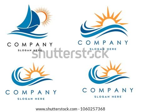 sea waves logo set  sun waves