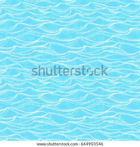 Sea waves seamless pattern. Summer watercolor background. Hand drawn vector illustration of water.