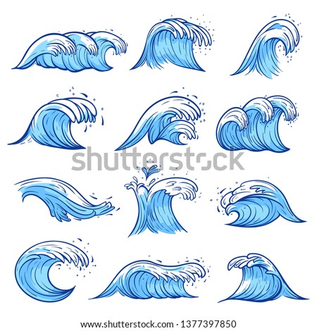 Sea waves set, blue marine and ocean nature. Creative swaying motion, decoration element. Vector ocean waves hand drawn illustration on white background