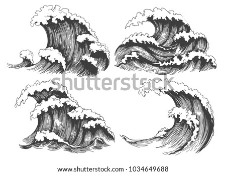 Sea waves sketch. Ocean wave set hand drawn doodle illustration, vector black and white icons