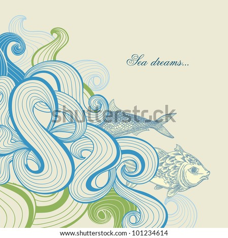 sea waves vector background