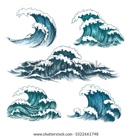 sea waves vintage cartoon