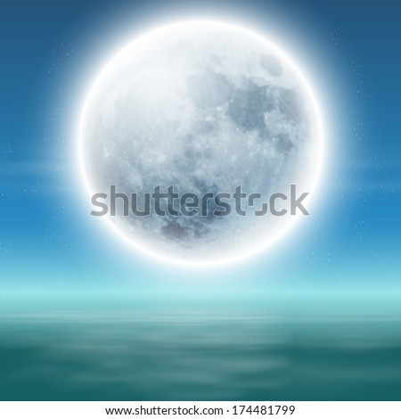 sea with full moon at night