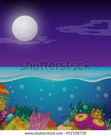 Sea with moon above